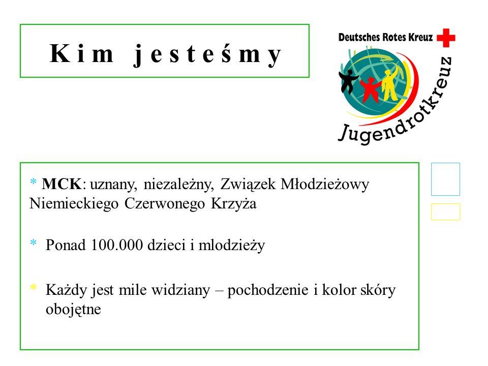 K i m j e s t e ś m y * MCK: uznany, niezależny, Związek Młodzieżowy Niemieckiego Czerwonego Krzyża * Ponad 100.000 dzieci i mlodzieży * Każdy jest mi