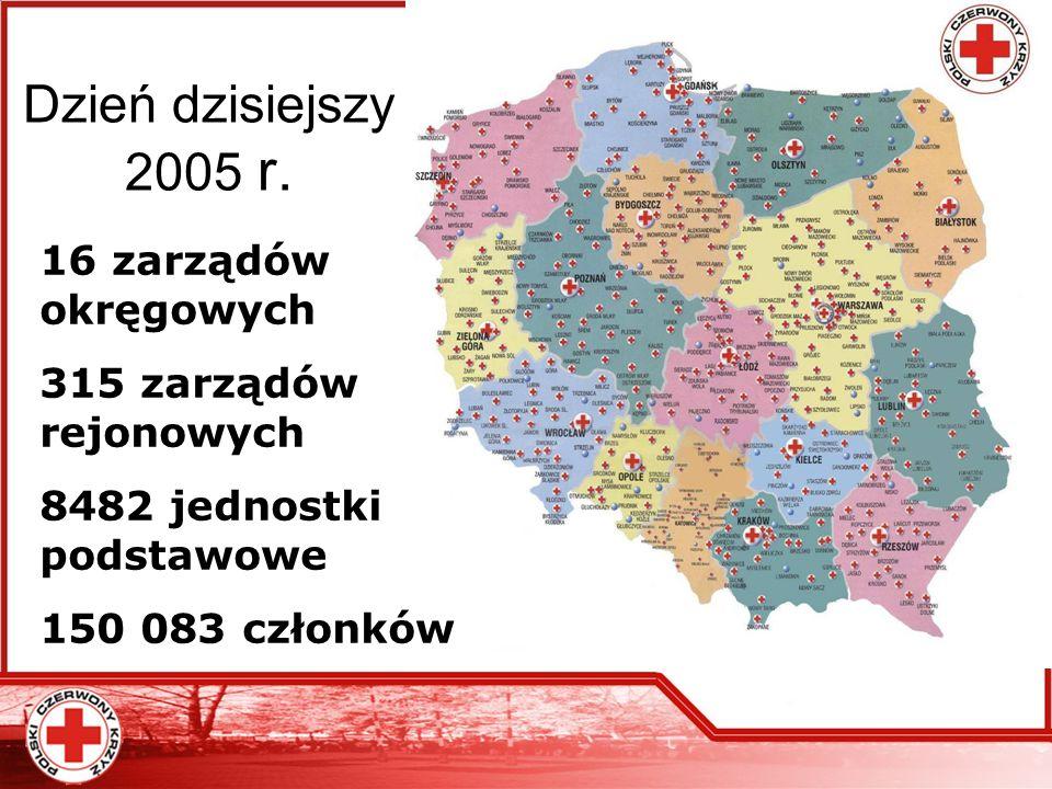 Dzień dzisiejszy 2005 r. 16 zarządów okręgowych 315 zarządów rejonowych 8482 jednostki podstawowe 150 083 członków
