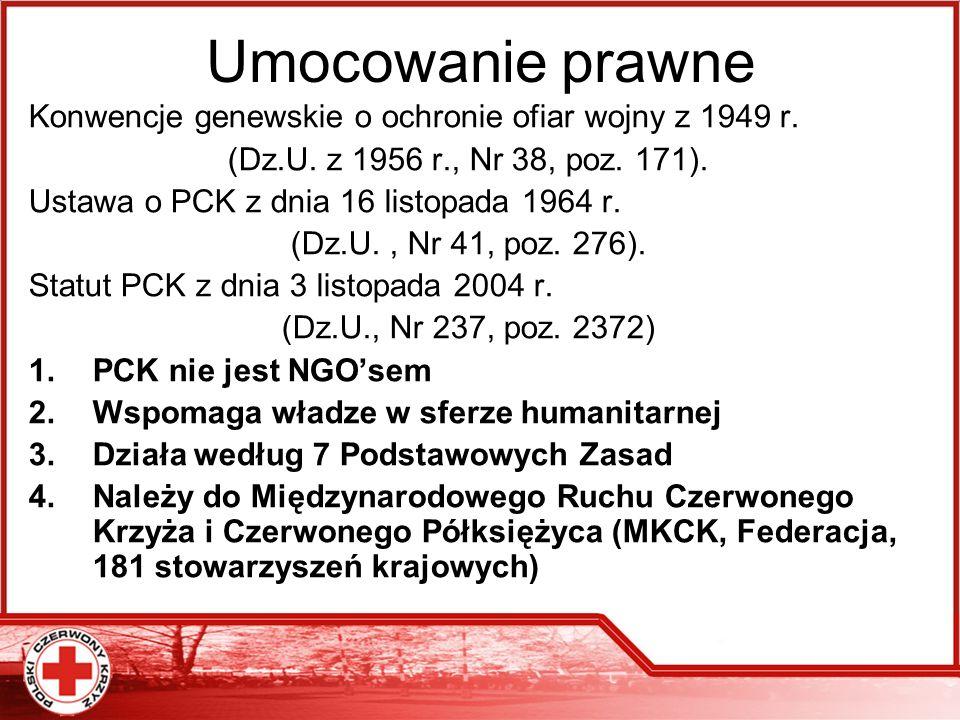 Umocowanie prawne Konwencje genewskie o ochronie ofiar wojny z 1949 r. (Dz.U. z 1956 r., Nr 38, poz. 171). Ustawa o PCK z dnia 16 listopada 1964 r. (D