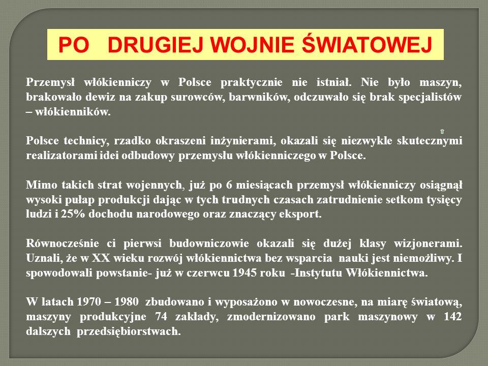 PO DRUGIEJ WOJNIE ŚWIATOWEJ Po Przemysł włókienniczy w Polsce praktycznie nie istniał. Nie było maszyn, brakowało dewiz na zakup surowców, barwników,