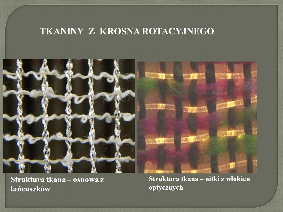 Struktura tkana – osnowa z łańcuszków Struktura tkana – nitki z włókien optycznych TKANINY Z KROSNA ROTACYJNEGO