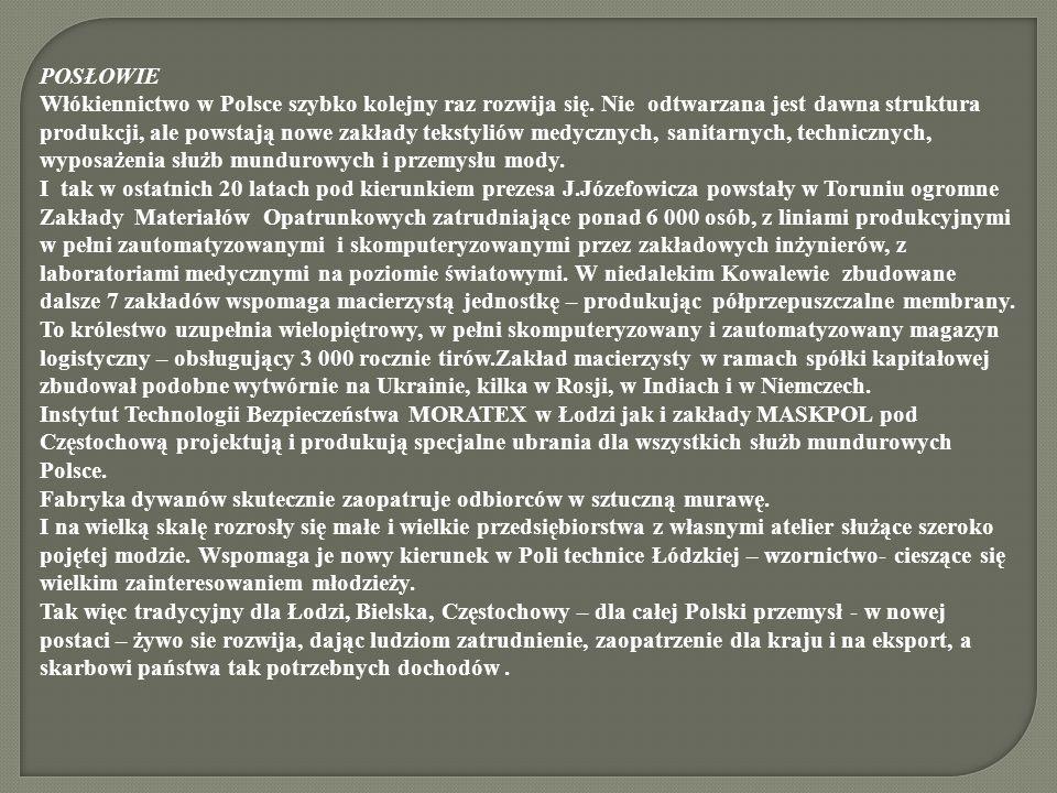 POSŁOWIE Włókiennictwo w Polsce szybko kolejny raz rozwija się. Nie odtwarzana jest dawna struktura produkcji, ale powstają nowe zakłady tekstyliów me