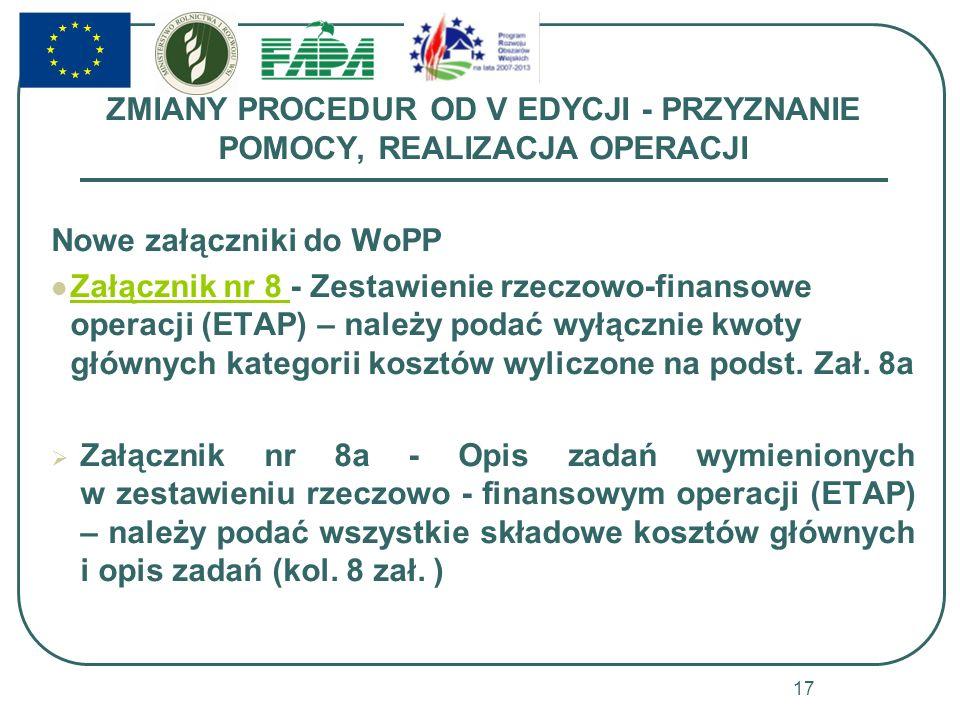 ZMIANY PROCEDUR OD V EDYCJI - PRZYZNANIE POMOCY, REALIZACJA OPERACJI Nowe załączniki do WoPP Załącznik nr 8 - Zestawienie rzeczowo-finansowe operacji (ETAP) – należy podać wyłącznie kwoty głównych kategorii kosztów wyliczone na podst.