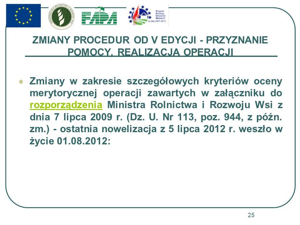 ZMIANY PROCEDUR OD V EDYCJI - PRZYZNANIE POMOCY, REALIZACJA OPERACJI Zmiany w zakresie szczegółowych kryteriów oceny merytorycznej operacji zawartych w załączniku do rozporządzenia Ministra Rolnictwa i Rozwoju Wsi z dnia 7 lipca 2009 r.