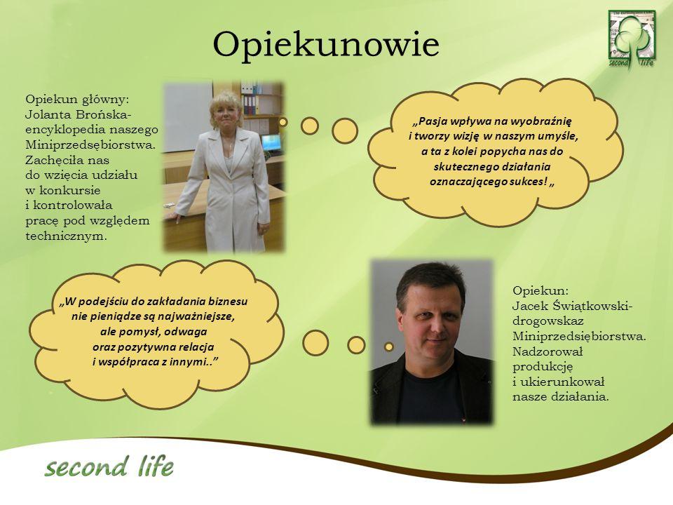 Opiekunowie Opiekun: Jacek Świątkowski- drogowskaz Miniprzedsiębiorstwa. Nadzorował produkcję i ukierunkował nasze działania. Opiekun główny: Jolanta
