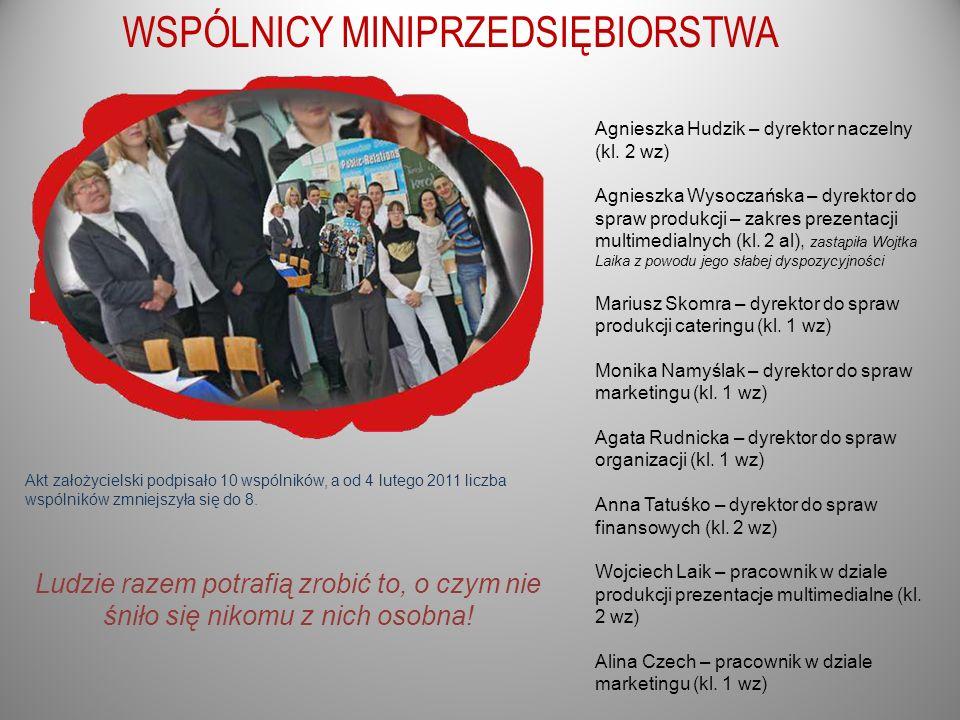 WSPÓLNICY MINIPRZEDSIĘBIORSTWA Akt założycielski podpisało 10 wspólników, a od 4 lutego 2011 liczba wspólników zmniejszyła się do 8. Agnieszka Hudzik
