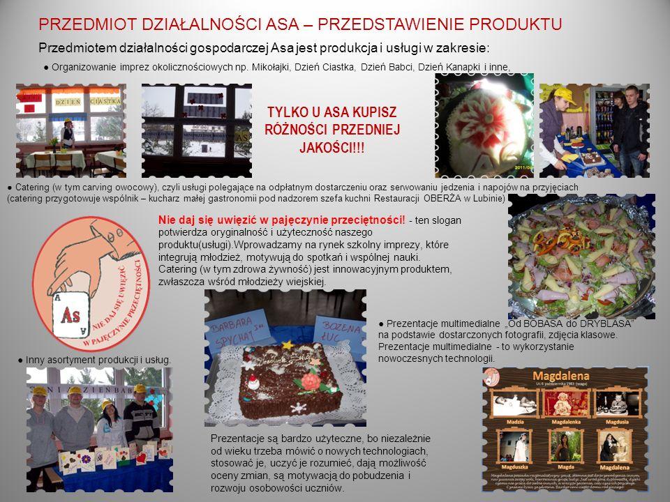 PRZEDMIOT DZIAŁALNOŚCI ASA – PRZEDSTAWIENIE PRODUKTU Przedmiotem działalności gospodarczej Asa jest produkcja i usługi w zakresie: Organizowanie imprez okolicznościowych np.