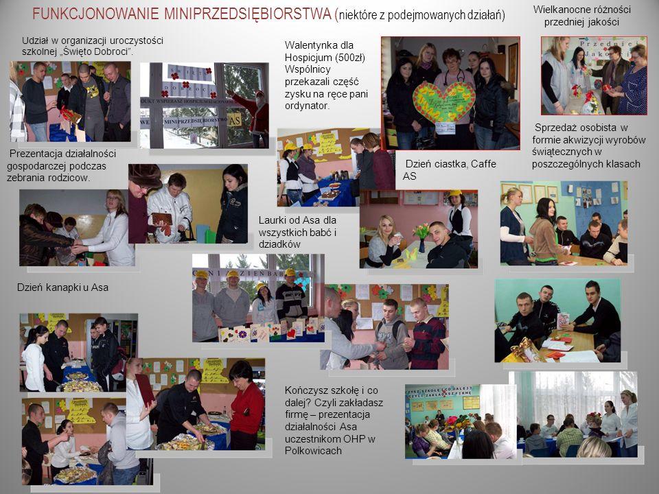 FUNKCJONOWANIE MINIPRZEDSIĘBIORSTWA ( niektóre z podejmowanych działań) Udział w organizacji uroczystości szkolnej Święto Dobroci. Prezentacja działal