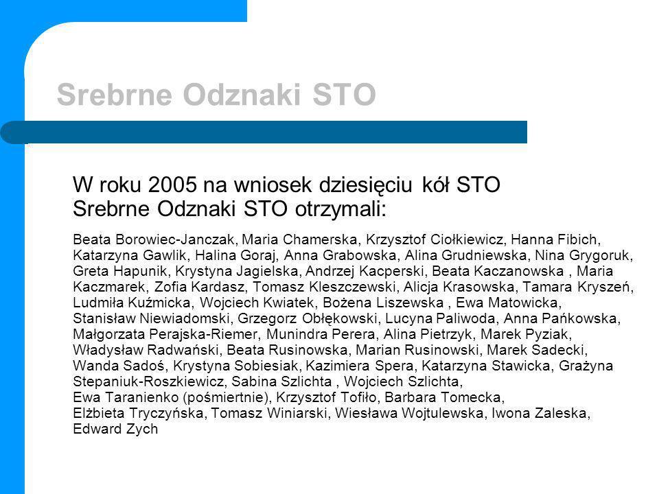 Srebrne Odznaki STO W roku 2005 na wniosek dziesięciu kół STO Srebrne Odznaki STO otrzymali: Beata Borowiec-Janczak, Maria Chamerska, Krzysztof Ciołki