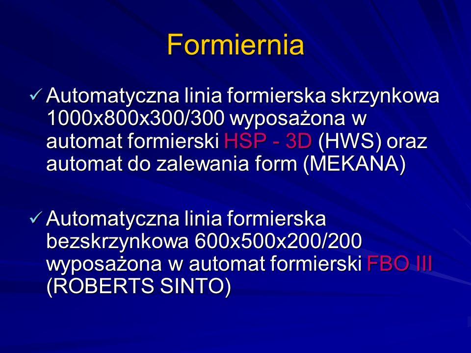 Formiernia Automatyczna linia formierska skrzynkowa 1000x800x300/300 wyposażona w automat formierski HSP - 3D (HWS) oraz automat do zalewania form (ME
