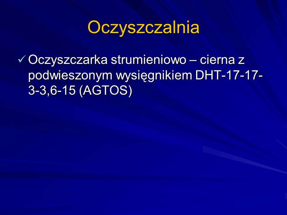Oczyszczalnia Oczyszczarka strumieniowo – cierna z podwieszonym wysięgnikiem DHT-17-17- 3-3,6-15 (AGTOS) Oczyszczarka strumieniowo – cierna z podwiesz