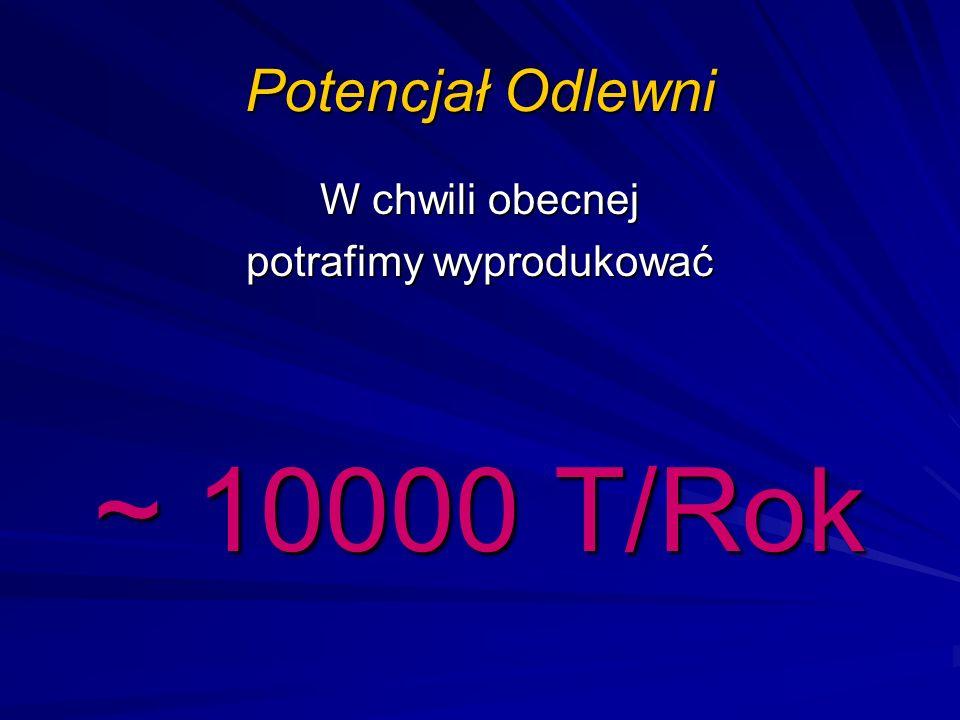 Potencjał Odlewni W chwili obecnej potrafimy wyprodukować ~ 10000 T/Rok