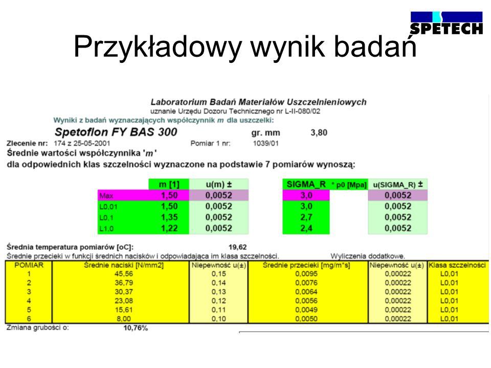 Klasy szczelności wg EN 13555 Klasa szczelnościL 1,0 L 0,1 L 0,01 Wyciek właściwy mg m*s 1,0 0,1 0,01
