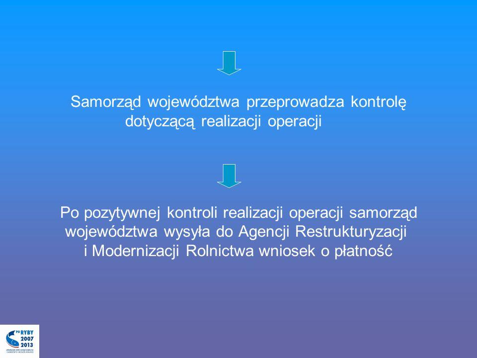 Samorząd województwa przeprowadza kontrolę dotyczącą realizacji operacji Po pozytywnej kontroli realizacji operacji samorząd województwa wysyła do Age