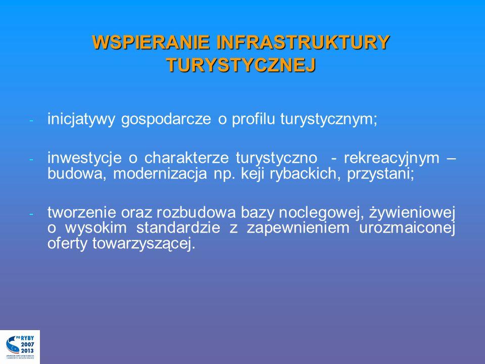WSPIERANIE INFRASTRUKTURY TURYSTYCZNEJ - - inicjatywy gospodarcze o profilu turystycznym; - - inwestycje o charakterze turystyczno - rekreacyjnym – bu