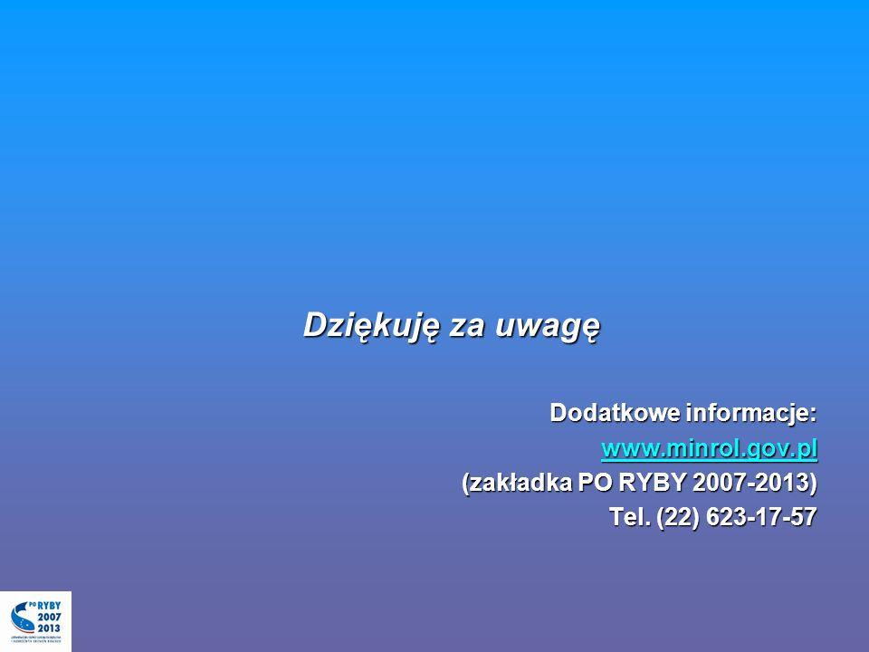 Dziękuję za uwagę Dodatkowe informacje: www.minrol.gov.pl (zakładka PO RYBY 2007-2013) Tel. (22) 623-17-57