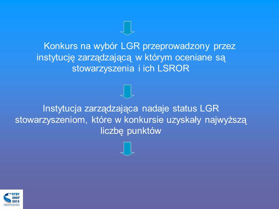 Konkurs na wybór LGR przeprowadzony przez instytucję zarządzającą w którym oceniane są stowarzyszenia i ich LSROR Instytucja zarządzająca nadaje status LGR stowarzyszeniom, które w konkursie uzyskały najwyższą liczbę punktów