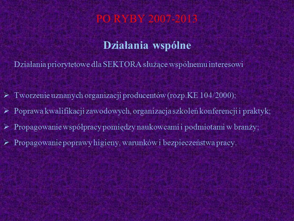 PO RYBY 2007-2013 Działania wspólne Działania priorytetowe dla SEKTORA służące wspólnemu interesowi Tworzenie uznanych organizacji producentów (rozp.K
