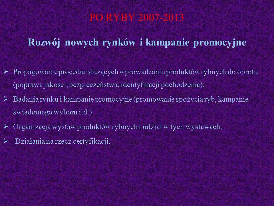 PO RYBY 2007-2013 Rozwój nowych rynków i kampanie promocyjne Propagowanie procedur służących wprowadzaniu produktów rybnych do obrotu (poprawa jakości