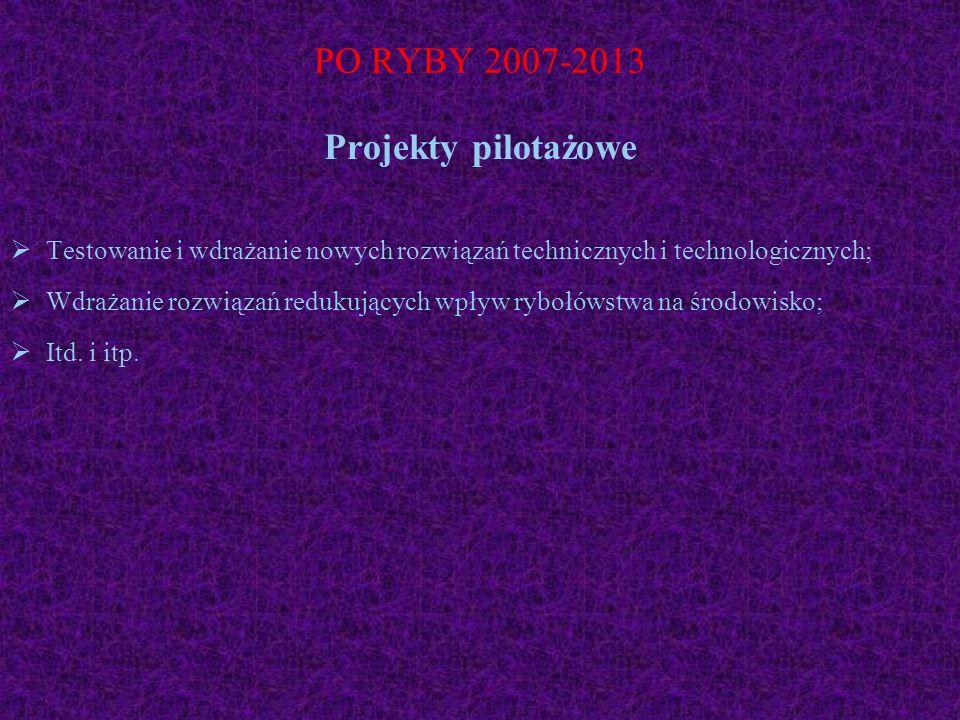 PO RYBY 2007-2013 Projekty pilotażowe Testowanie i wdrażanie nowych rozwiązań technicznych i technologicznych; Wdrażanie rozwiązań redukujących wpływ