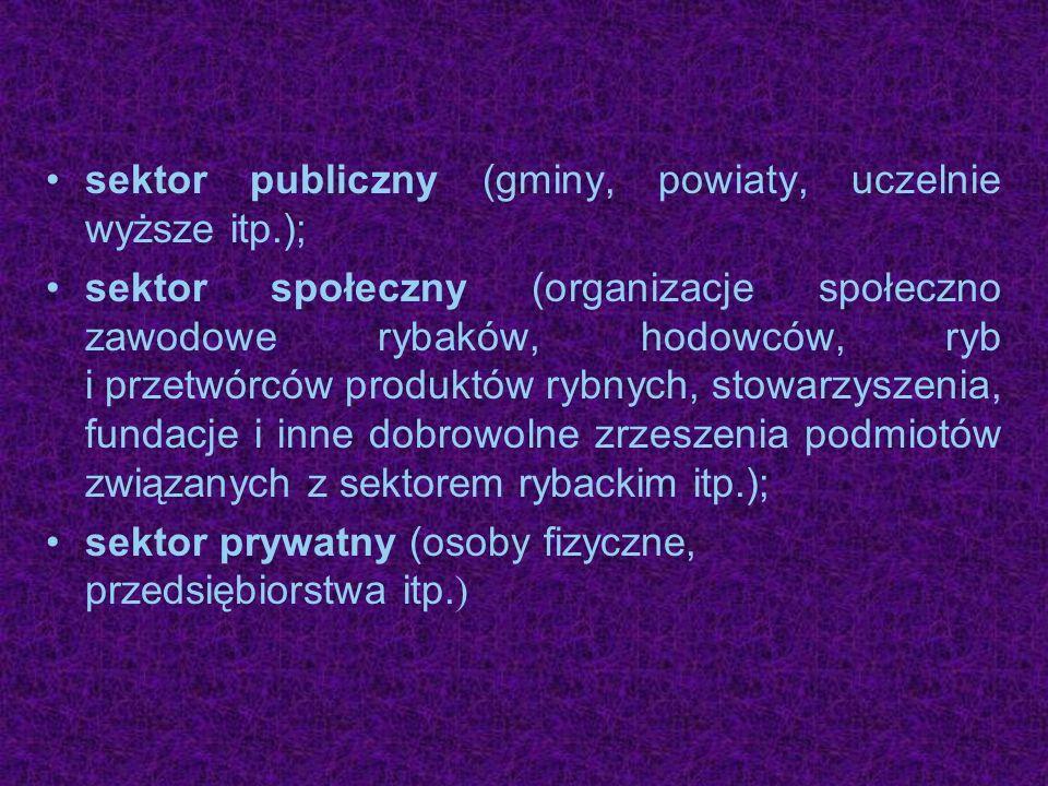 sektor publiczny (gminy, powiaty, uczelnie wyższe itp.); sektor społeczny (organizacje społeczno zawodowe rybaków, hodowców, ryb i przetwórców produkt