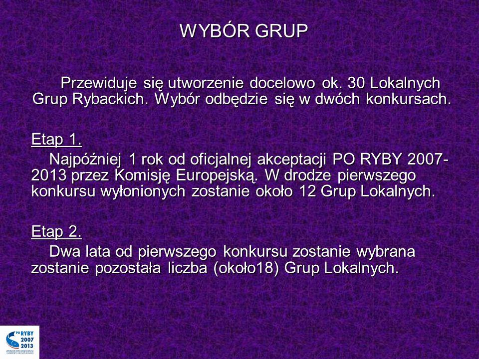 WYBÓR GRUP Przewiduje się utworzenie docelowo ok. 30 Lokalnych Grup Rybackich. Wybór odbędzie się w dwóch konkursach. Etap 1. Najpóźniej 1 rok od ofic