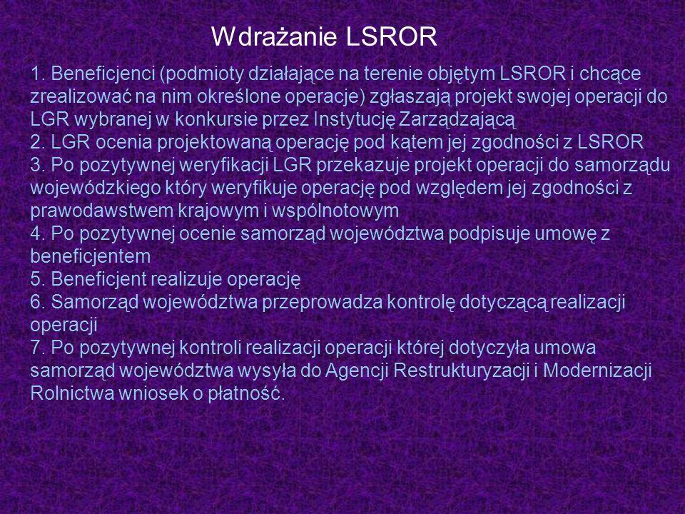 Wdrażanie LSROR 1. Beneficjenci (podmioty działające na terenie objętym LSROR i chcące zrealizować na nim określone operacje) zgłaszają projekt swojej