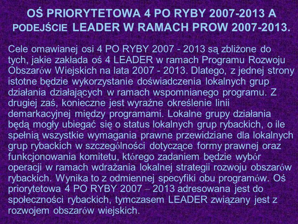OŚ PRIORYTETOWA 4 PO RYBY 2007-2013 A PODEJŚCIE LEADER W RAMACH PROW 2007-2013. Cele omawianej osi 4 PO RYBY 2007 - 2013 są zbliżone do tych, jakie za