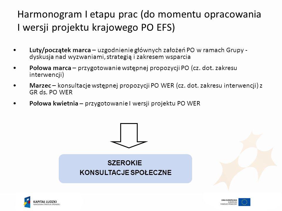 Harmonogram I etapu prac (do momentu opracowania I wersji projektu krajowego PO EFS) Luty/początek marca – uzgodnienie głównych założeń PO w ramach Gr