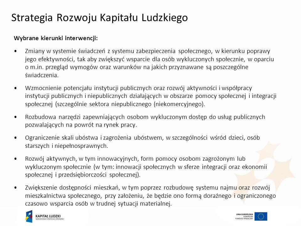 Mechanizmy ukierunkowania FE na cele Wykorzystanie nowych narzędzi: ring-fencing (udział EFS w alokacji na FS): 20-25% - dla regionów mniej rozwiniętych 35-40% - dla regionów przejściowych 45-50% - dla regionów bardziej rozwiniętych koncentracja tematyczna (lista celów tematycznych i priorytetów inwestycyjnych i koncentracja środków na wybranych PI) 20% EFS na cel tematyczny 9: promocja włączenia społecznego i zwalczanie ubóstwa 60% EFS na 4 priorytetach inwestycyjnych - regiony mniej rozwinięte 70% EFS na 4 priorytetach inwestycyjnych - regiony przejściowe 80% EFS na 4 priorytetach inwestycyjnych - regiony bardziej rozwinięte warunkowość ex-ante 9.1 Gotowe są krajowe strategiczne ramy polityki na rzecz ograniczania ubóstwa, które mają na celu aktywne włączenie 9.2.