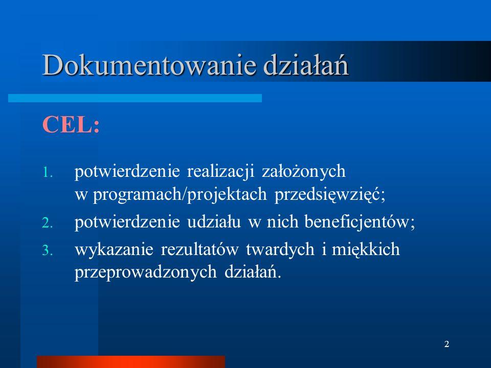 2 Dokumentowanie działań CEL: 1. potwierdzenie realizacji założonych w programach/projektach przedsięwzięć; 2. potwierdzenie udziału w nich beneficjen