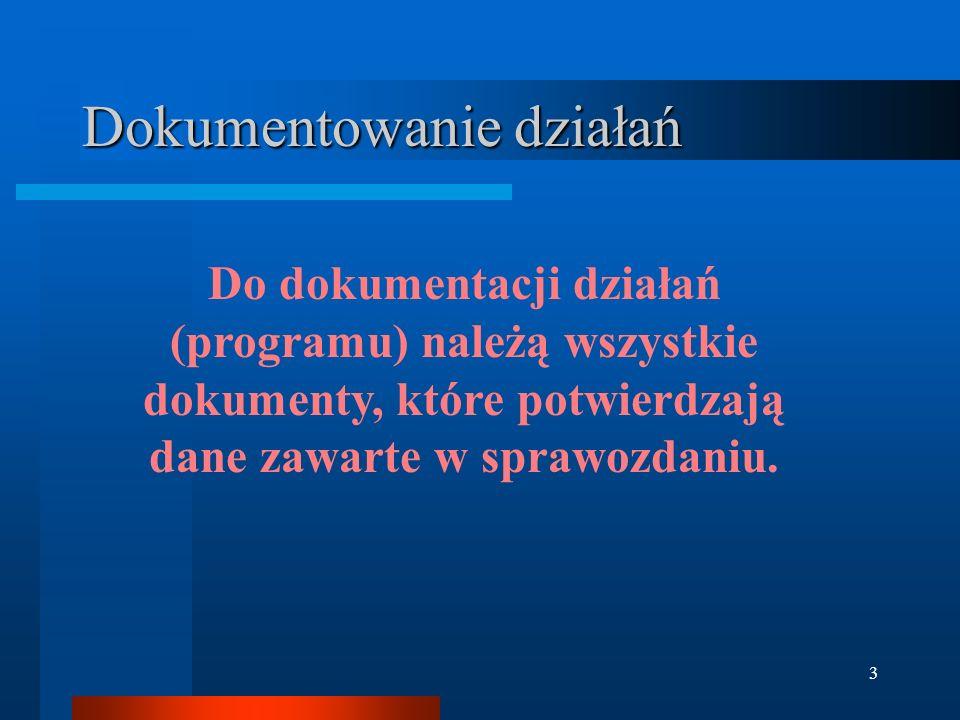3 Dokumentowanie działań Do dokumentacji działań (programu) należą wszystkie dokumenty, które potwierdzają dane zawarte w sprawozdaniu.