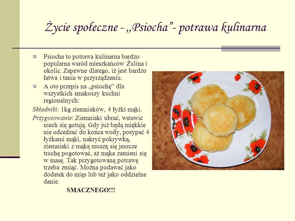 Życie społeczne -,,Psiocha- potrawa kulinarna Psiocha to potrawa kulinarna bardzo popularna wsród mieszkańców Żulina i okolic. Zapewne dlatego, iż jes