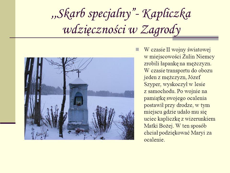 ,,Skarb specjalny- Kapliczka wdzięczności w Zagrody W czasie II wojny światowej w miejscowości Żulin Niemcy zrobili łapankę na mężczyzn. W czasie tran