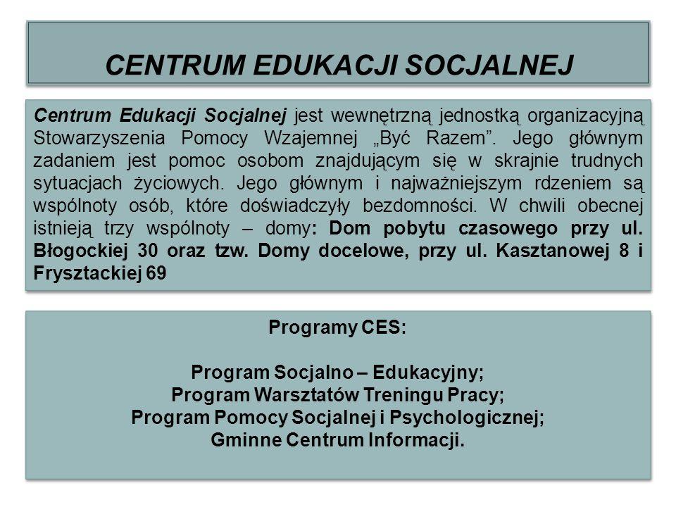 CENTRUM EDUKACJI SOCJALNEJ Centrum Edukacji Socjalnej jest wewnętrzną jednostką organizacyjną Stowarzyszenia Pomocy Wzajemnej Być Razem. Jego głównym