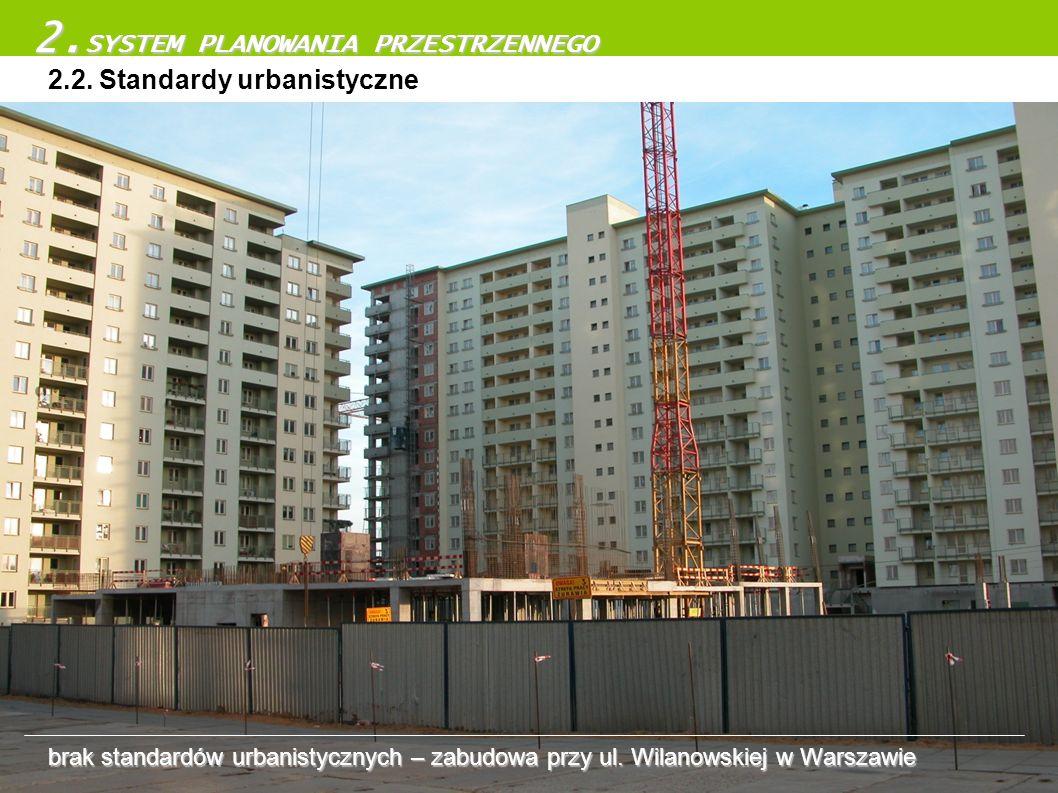 2.2. Standardy urbanistyczne 2. SYSTEM PLANOWANIA PRZESTRZENNEGO brak standardów urbanistycznych – zabudowa przy ul. Wilanowskiej w Warszawie