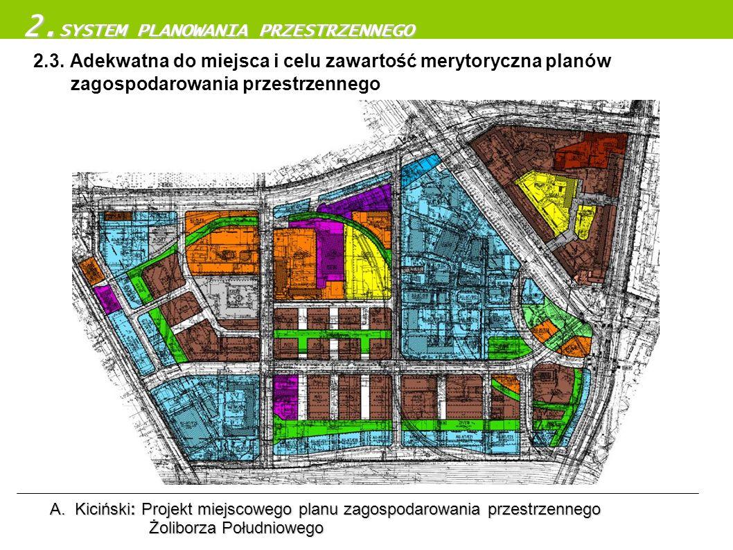 2.3. Adekwatna do miejsca i celu zawartość merytoryczna planów zagospodarowania przestrzennego 2. SYSTEM PLANOWANIA PRZESTRZENNEGO A.Kiciński: Projekt