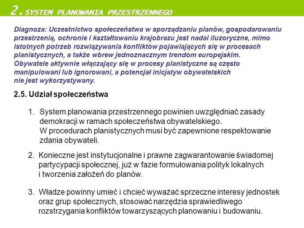 2.5. Udział społeczeństwa 1. System planowania przestrzennego powinien uwzględniać zasady demokracji w ramach społeczeństwa obywatelskiego. W procedur