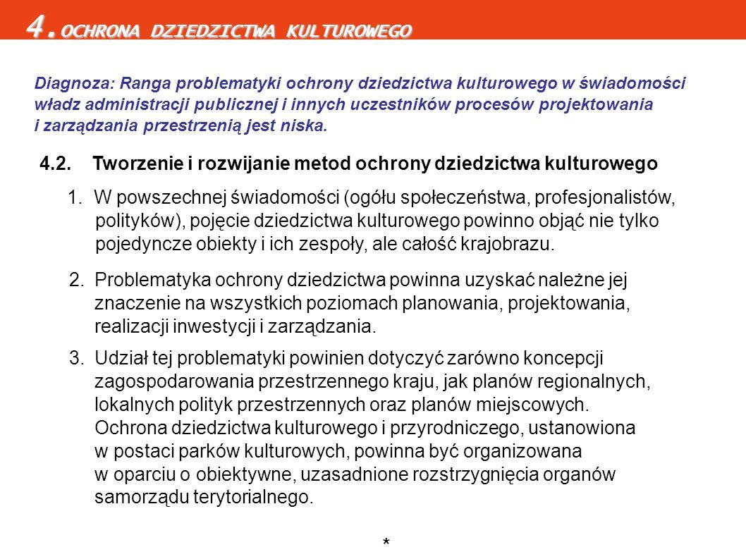 4.2. Tworzenie i rozwijanie metod ochrony dziedzictwa kulturowego 2.Problematyka ochrony dziedzictwa powinna uzyskać należne jej znaczenie na wszystki