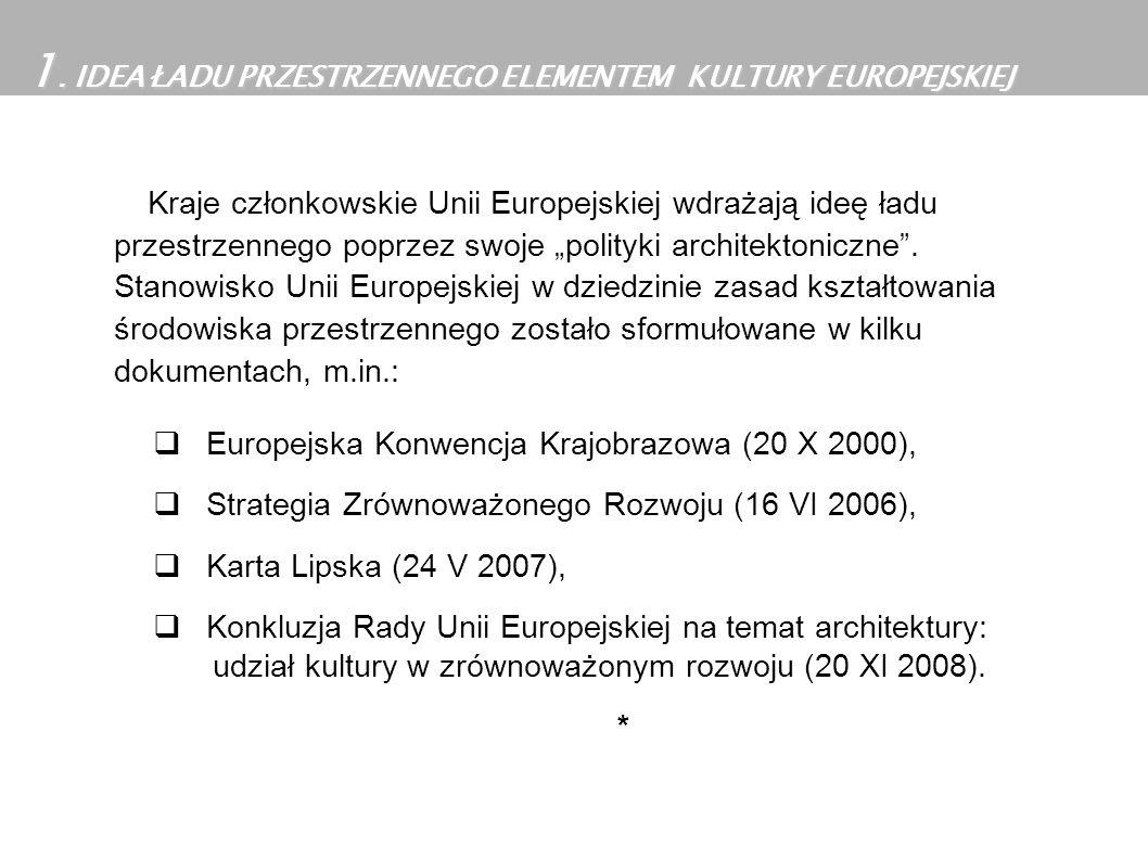 Kraje członkowskie Unii Europejskiej wdrażają ideę ładu przestrzennego poprzez swoje polityki architektoniczne. Stanowisko Unii Europejskiej w dziedzi