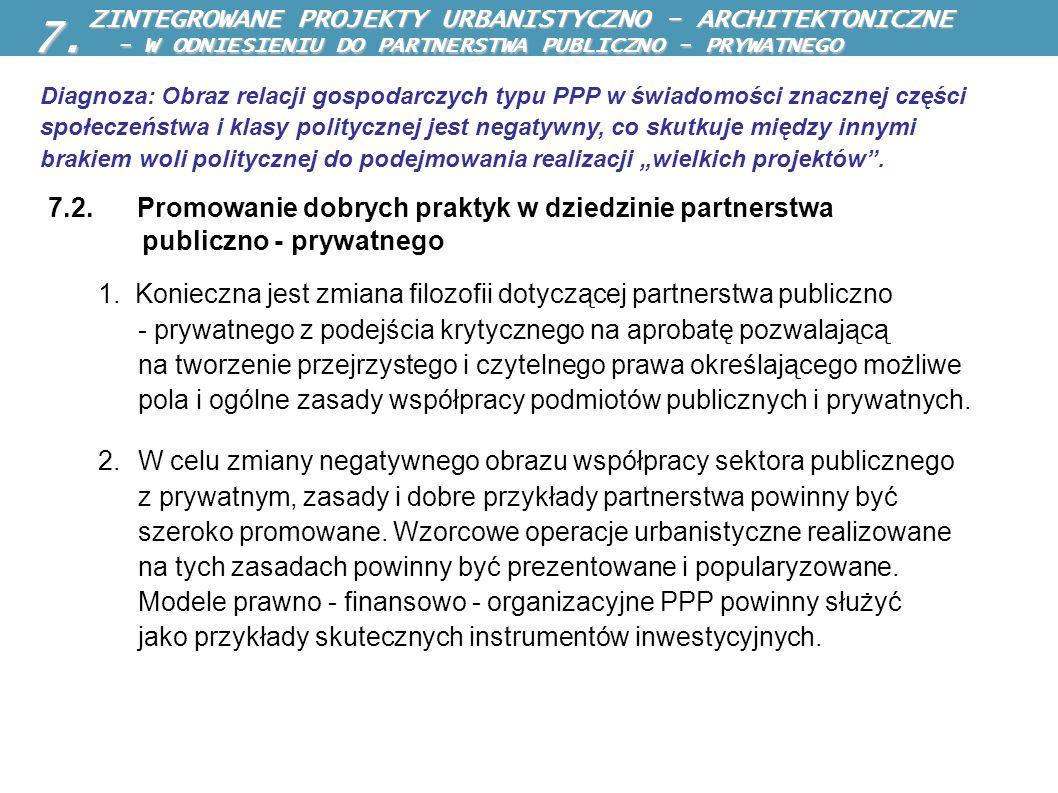 7.2. Promowanie dobrych praktyk w dziedzinie partnerstwa publiczno - prywatnego 1. Konieczna jest zmiana filozofii dotyczącej partnerstwa publiczno -