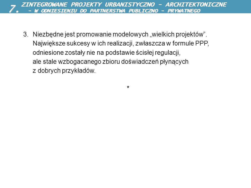 ZINTEGROWANE PROJEKTY URBANISTYCZNO - ARCHITEKTONICZNE ZINTEGROWANE PROJEKTY URBANISTYCZNO - ARCHITEKTONICZNE 3.Niezbędne jest promowanie modelowych w