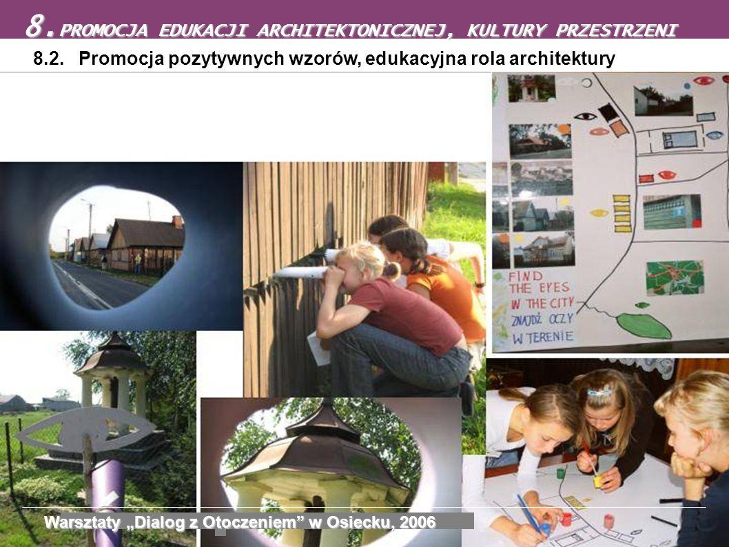 8.2. Promocja pozytywnych wzorów, edukacyjna rola architektury 8. PROMOCJA EDUKACJI ARCHITEKTONICZNEJ, KULTURY PRZESTRZENI Warsztaty Dialog z Otoczeni