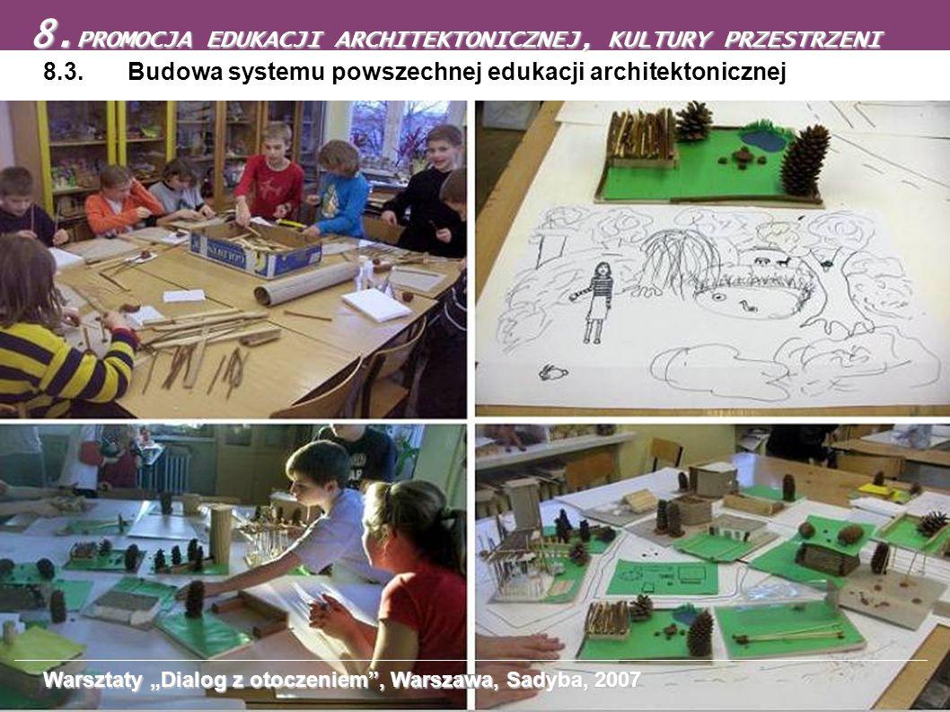 8.3. Budowa systemu powszechnej edukacji architektonicznej 8. PROMOCJA EDUKACJI ARCHITEKTONICZNEJ, KULTURY PRZESTRZENI Warsztaty Dialog z otoczeniem,