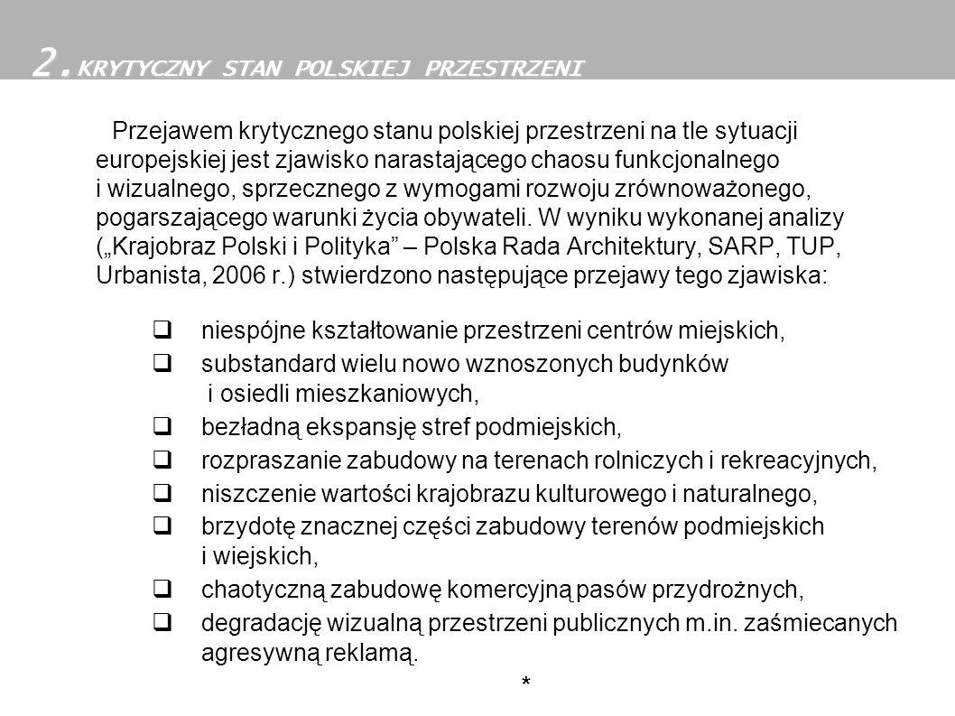Przejawem krytycznego stanu polskiej przestrzeni na tle sytuacji europejskiej jest zjawisko narastającego chaosu funkcjonalnego i wizualnego, sprzeczn