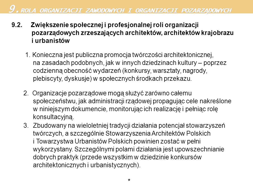 9.2. Zwiększenie społecznej i profesjonalnej roli organizacji pozarządowych zrzeszających architektów, architektów krajobrazu i urbanistów 1. Konieczn