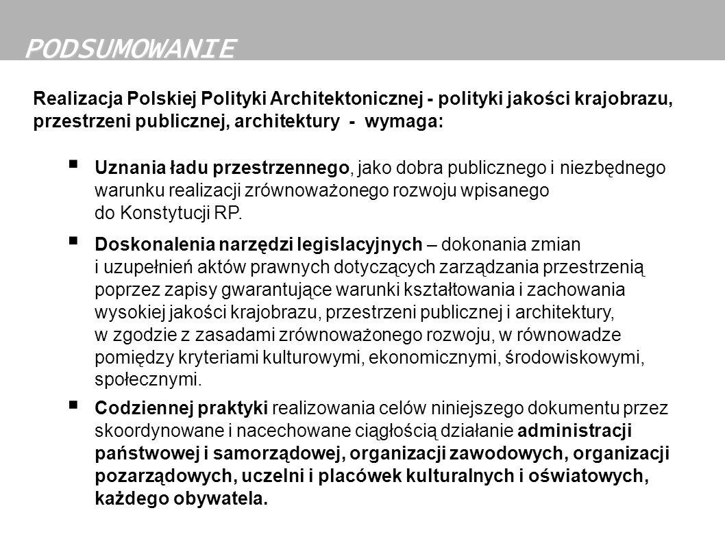 Realizacja Polskiej Polityki Architektonicznej - polityki jakości krajobrazu, przestrzeni publicznej, architektury - wymaga: Uznania ładu przestrzenne