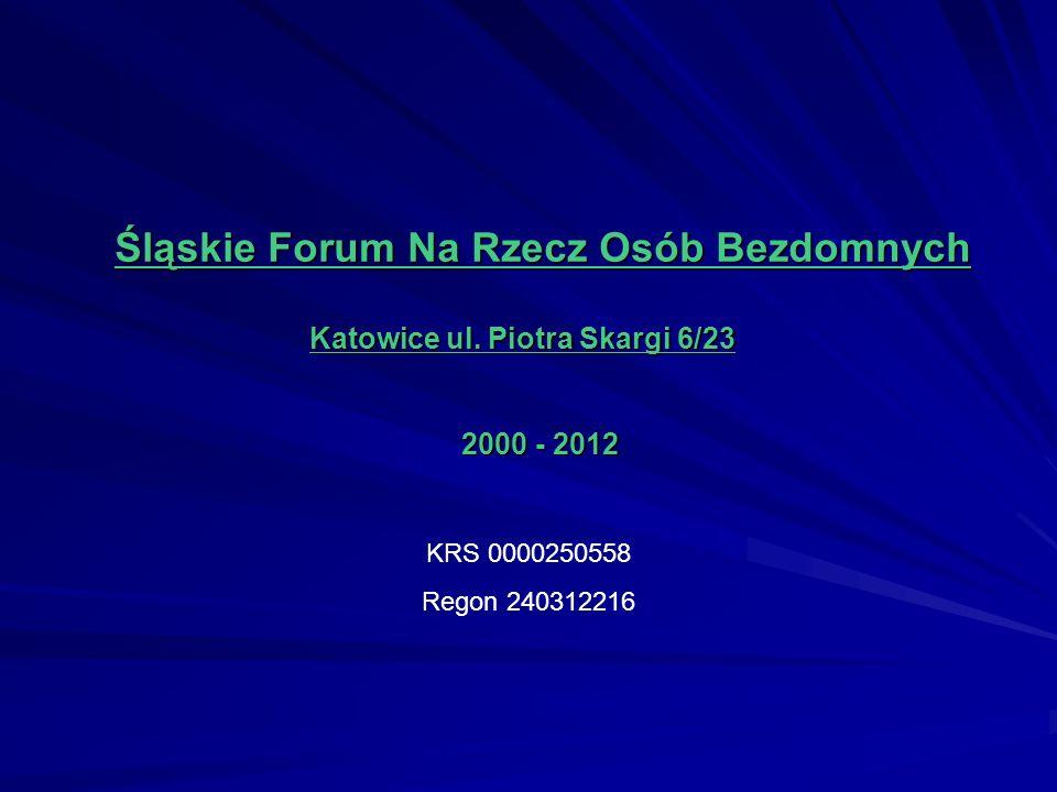 Śląskie Forum Na Rzecz Osób Bezdomnych Katowice ul. Piotra Skargi 6/23 Katowice ul. Piotra Skargi 6/23 2000 - 2012 2000 - 2012 KRS 0000250558 Regon 24