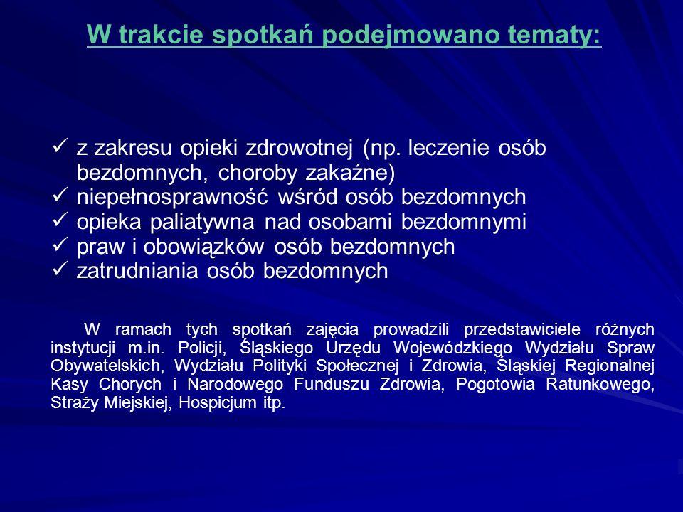 W trakcie spotkań podejmowano tematy: z zakresu opieki zdrowotnej (np. leczenie osób bezdomnych, choroby zakaźne) niepełnosprawność wśród osób bezdomn