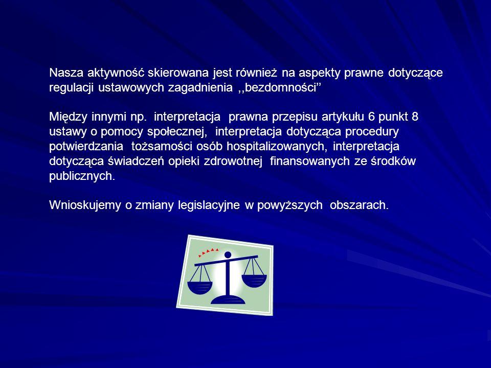 Nasza aktywność skierowana jest również na aspekty prawne dotyczące regulacji ustawowych zagadnienia,,bezdomności Między innymi np. interpretacja praw